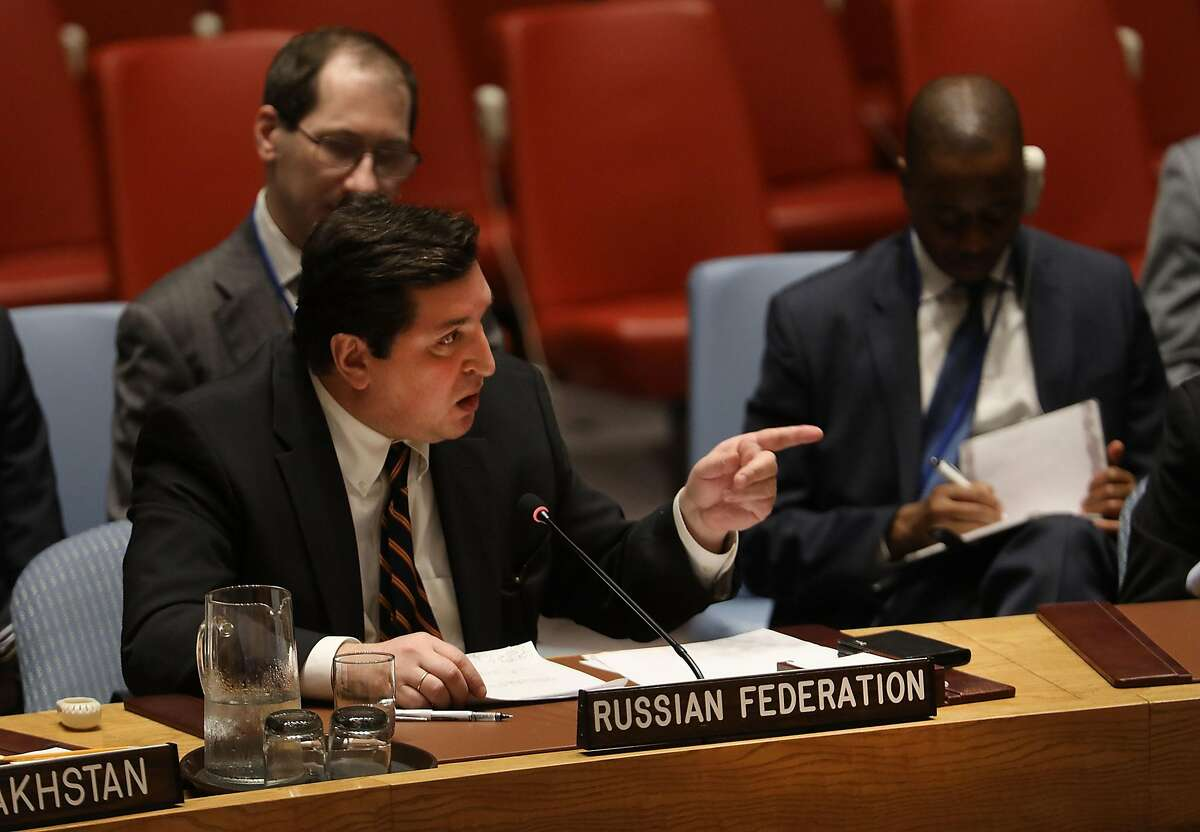 NEW YORK, NY - APRIL 12: Russian deputy United Nations (UN) ambassador Vladimir Safronkov points to U.S. UN Ambassador Nikki Haley while speaking at a meeting on the situation in the Middle East where the ongoing conflict in Syria was discussed on April 12, 2017 in New York City. It is expected that the Security Council will vote later on Wednesday on a draft resolution demanding that the�Syrian government cooperate with an investigation of the suspected chemical attack last week. (Photo by Spencer Platt/Getty Images)