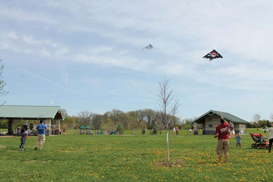 "Kites soar over Glik Park during a previous ""Flying 4 Kids"" event. Photo: Bill Tucker • Intelligencer"
