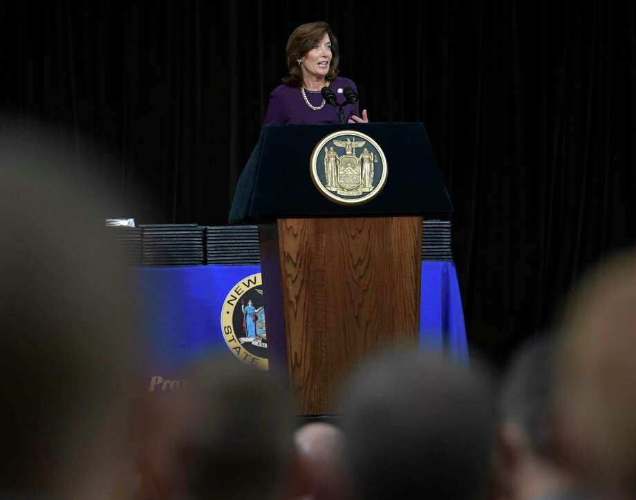 Lt. Governor Kathy Hochyl addresses the 204th Basic School Graduation ceremony for the New York State Police at the Empire State Plaza Convention Center Thursday Oct. 13, 2016 in Albany ,  N.Y.  (Skip Dickstein/Times Union) Photo: SKIP DICKSTEIN / 20038365A