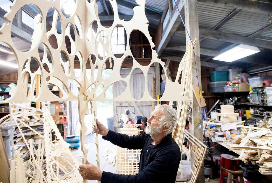 "David Best arranges pieces for his ""Temple Bar"" art installation at his Petaluma, Calif., workshop on April 11, 2017. He'll display the piece during the San Francisco Art Institute's spring gala on April 29. Photo: Noah Berger, Special To The Chronicle"