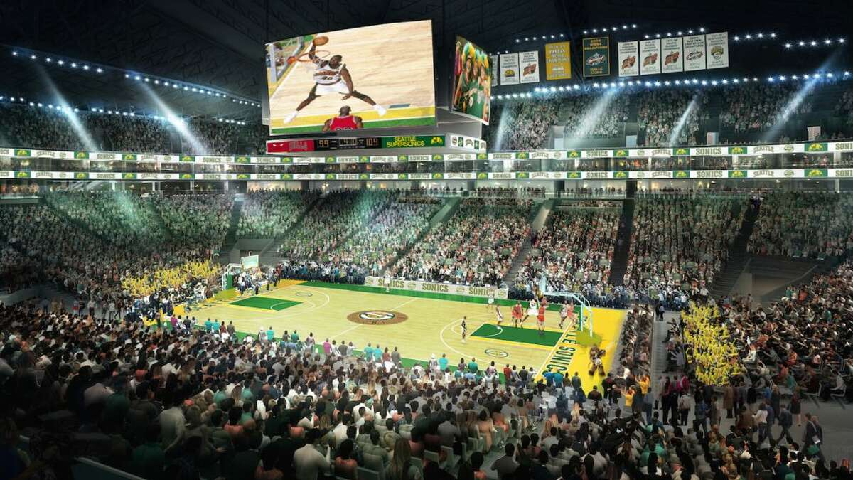 Renderings provided by AEG and Hudson Pacific Properties (aka Seattle Partners) show the Seattle Coliseum, the partnership's vision for a renovated KeyArena.