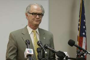 David Mitcham, trial bureau chief with the Harris County District Attorney's Office, speaks to the media about an audit at the Houston Forensic Center shown Wednesday, April 12, 2017, in Houston. ( Melissa Phillip / Houston Chronicle )