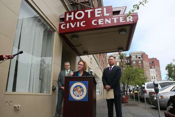 ( l to r) Jeff Kositsky, director of Homelessness and Supportive Housing, Christ Saxton, of Community Housing Partnership and Assemblyman Phil Ting, on Wed. April 12, 2017, in San Francisco, Calif., at the Civic Center Navigation Center. Ting announced he is introducing a bill to ease building regulations in San Francisco when it comes to emergency homeless shelters and supportive housing.