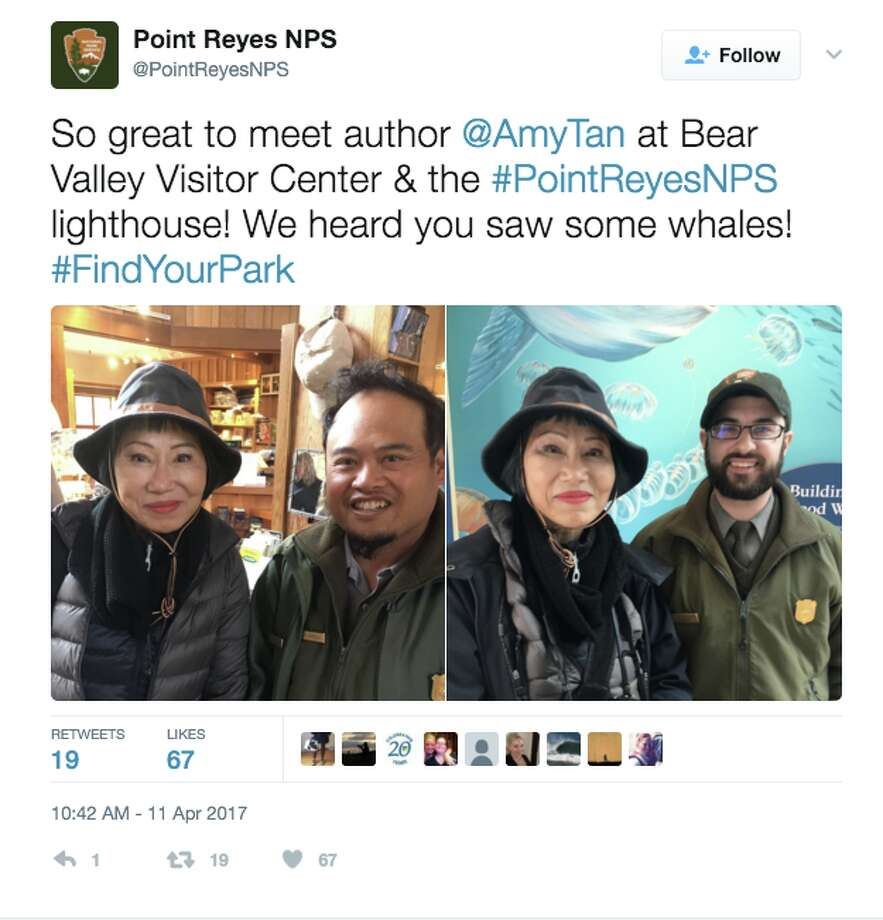 Amy Tan, the award-winning author of 'Joy Luck Club,' headed to Point Reyes on Monday for whale watching and lighthouse exploring. Tan was born in Oakland and currently resides in San Francisco Photo: Twitter Screen Grab
