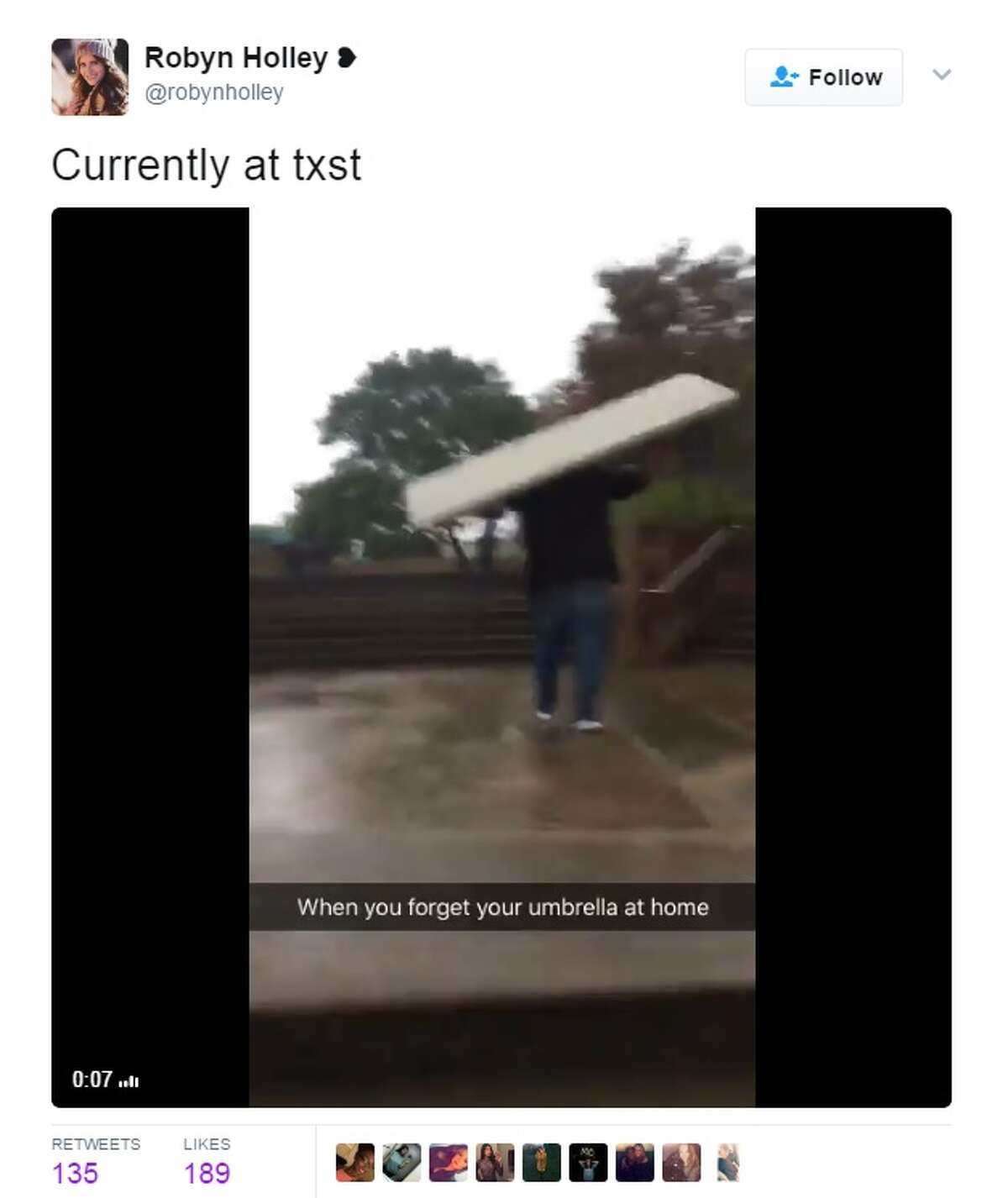 @robynholley shared the video above when San Marcos received heavy rain April 12, 2017.