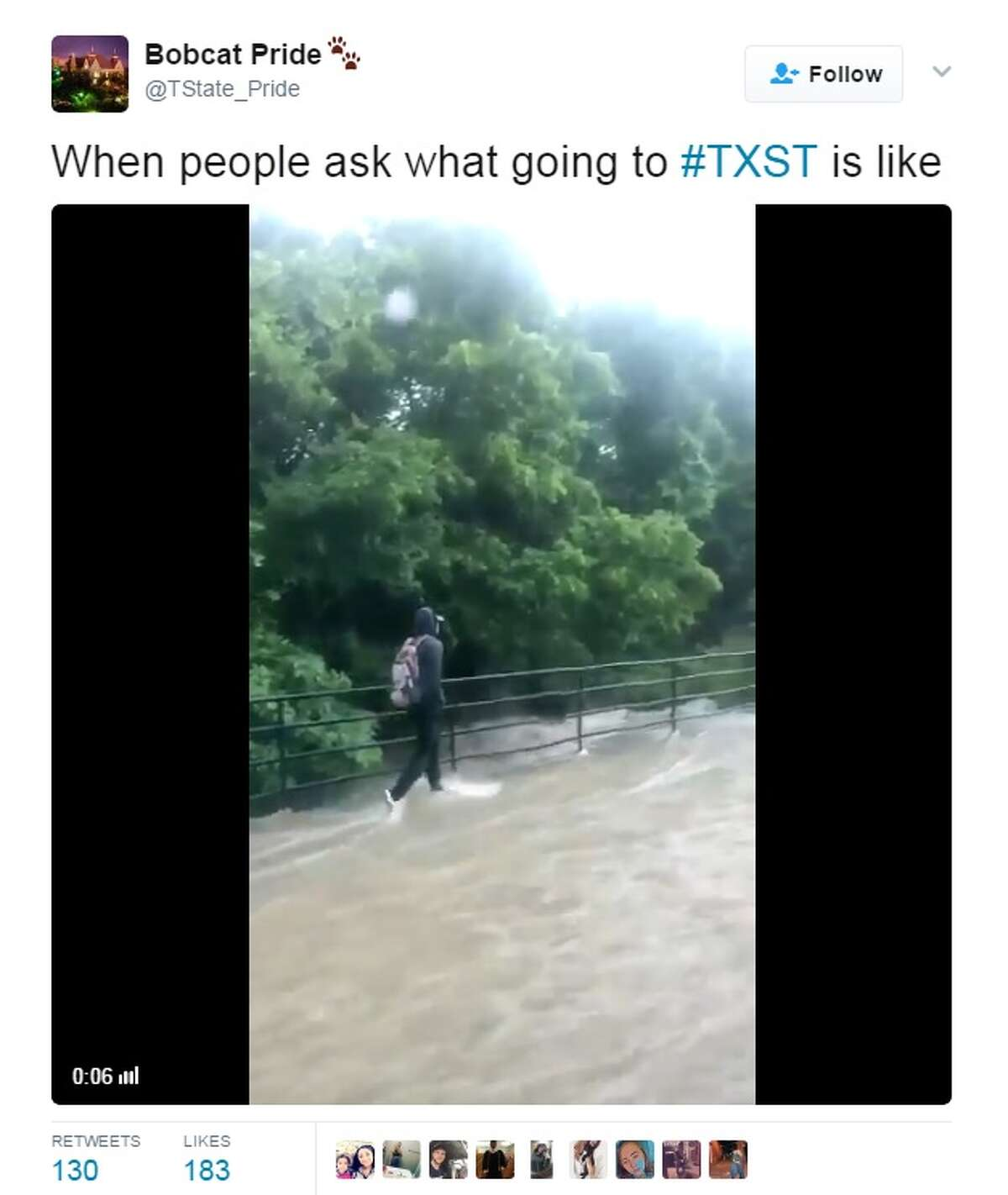 @TState_Pride shared the video above when San Marcos received heavy rain April 12, 2017.