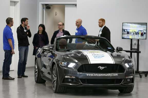 Technicians offer a tour of the vehicle development lab at the Continental Silicon Valley Research and Development Center for automotive technology in San Jose, Calif. on Wednesday, April 12, 2017.