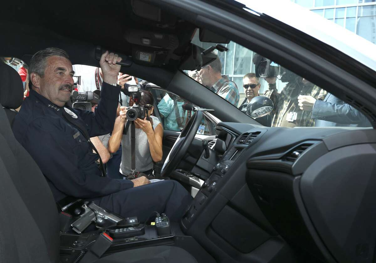 Los Angeles, CA. April 10, 2017 -- Ford reveals industry's first pursuit-rated hybrid police car in New York and Los Angeles; all-new Police Responder Hybrid Sedan expected to save customers thousands in fuel costs. Ford investing $4.5 billion and introducing 13 new electric vehicles globally in the next five years, including F-150 Hybrid, Mustang Hybrid, Transit Custom plug-in hybrid, autonomous vehicle hybrid and fully electric small SUV with estimated range of at least 300 miles. Pictured: Los Angeles Police Department Chief Charlie Beck, Los Angeles, CA.