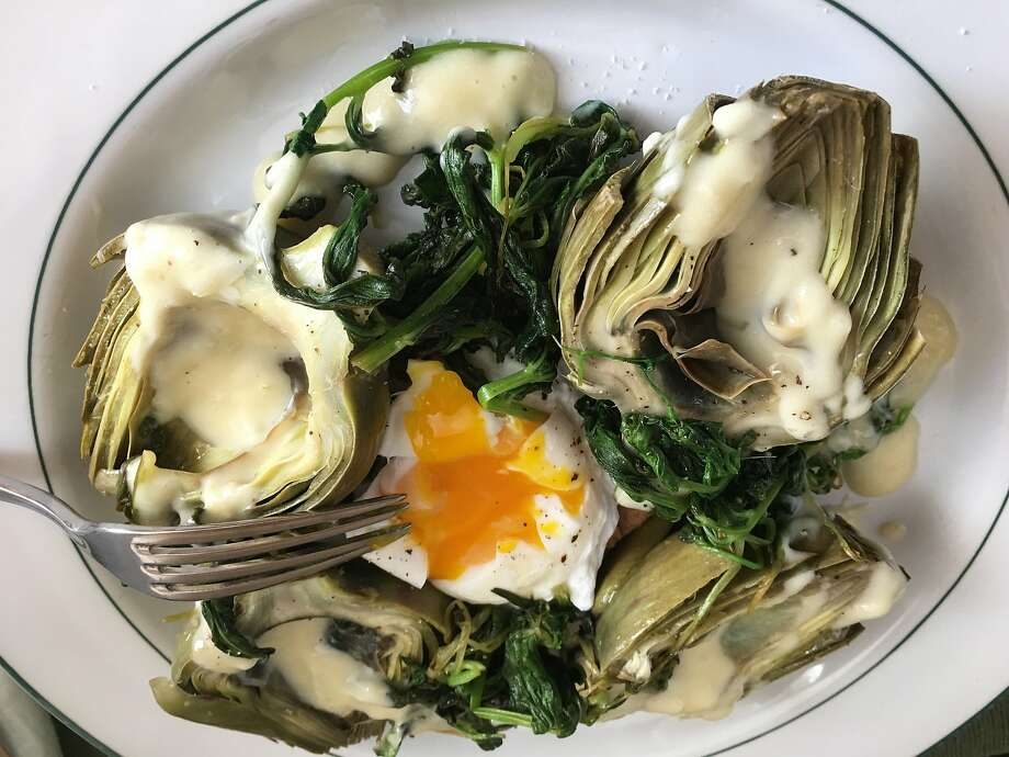 Artichokes with slow-cooked egg. Photo: Sarah Fritsche