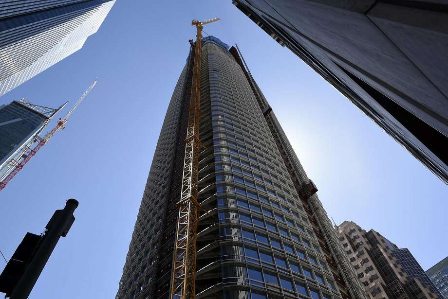 The Salesforce Tower stands under construction in San Francisco on April 3, 2017. Cloud computing giant Salesforce  said Thursday has achieved net zero carbon emissions. Photo: Michael Short, Bloomberg