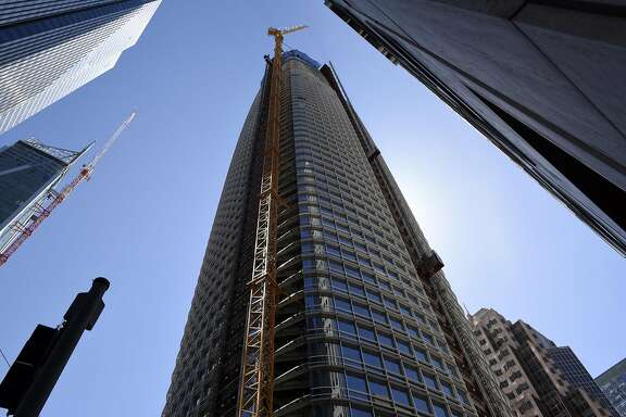 The Salesforce Tower stands under construction in San Francisco, California, U.S., on Monday, April 3, 2017. The Salesforce Tower, officially the tallest occupiable building west of Chicago, is 61 stories high and is expected to be completed in 2017. Photographer: Michael Short/Bloomberg