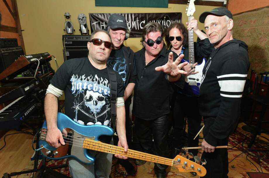 The Atomic Unknown, on bass Jo Azary, Rob T. Barry on keyboards, Ken Walsh, vocals, Gary Tyler, guitar and drummer Rob Canal. The heavy metal band members are all from Norwalk and rehearse at a home studio in Huntington on Wednesday April 5, 2017 in Shelton Conn. Photo: Alex Von Kleydorff / Hearst Connecticut Media / Norwalk Hour