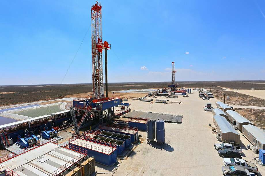 "A Patterson-UTI drilling rigs that uses hydraulic feet to ""walk"" from one drill site to another. This one operates in West Texas. (Patterson-UTI Drilling Company) Photo: Patterson-UTI Drilling Company, TNS"