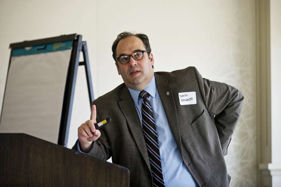 Saginaw Valley State University Associate Provost Dr. David M. Callejo Perez speaks during the United Way's ALICE report (Assisted Limited, Income Constrained and Employed) on Wednesday at the Midland Country Club. Perez helped create the report. Photo: Erin Kirkland/Midland Daily News