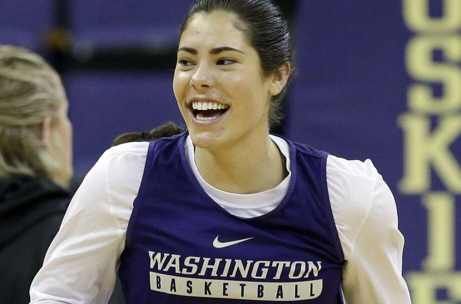 In this March 17, 2017, file photo, Washington's Kelsey Plum smiles as she runs up court at a practice a day before the team's first round NCAA Tournament game, in Seattle. Photo: Elaine Thompson /Associated Press / Copyright 2017 The Associated Press. All rights reserved.