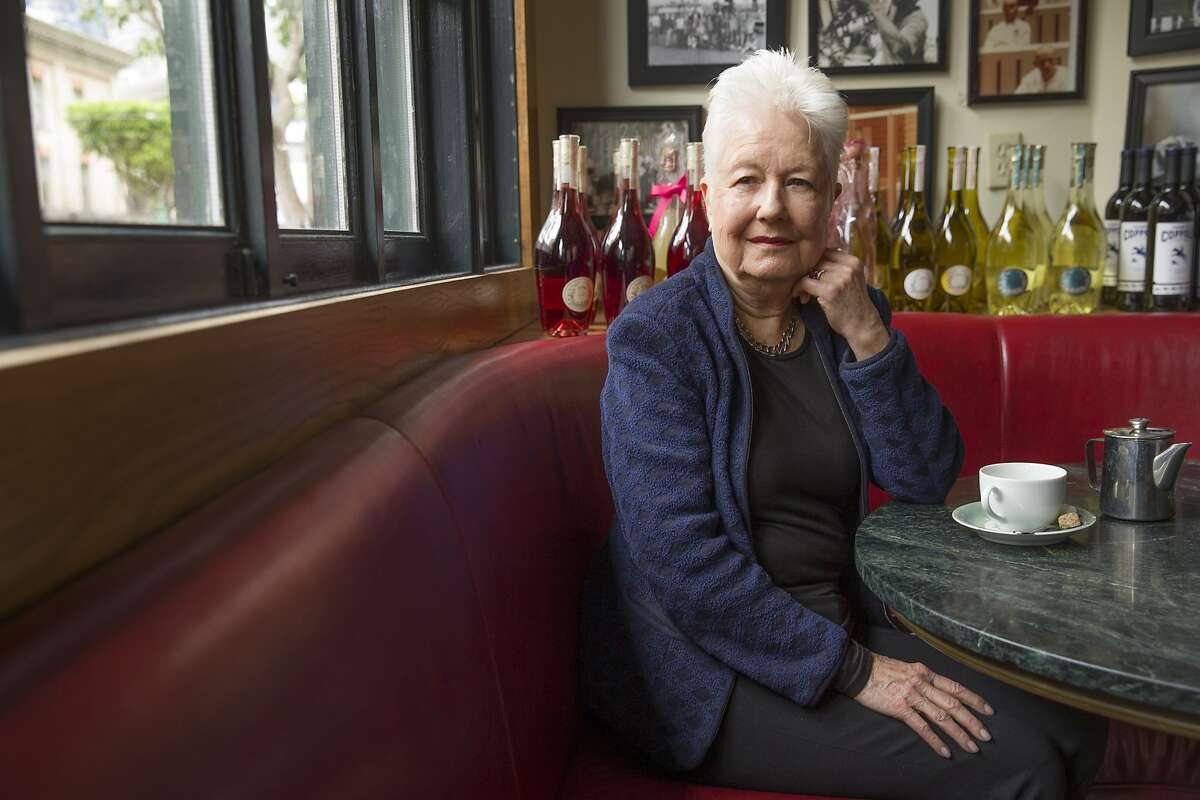 Eleanor Coppola sits for a portrait at Cafe Zoetrope on Wednesday, April 12, 2017, in San Francisco, Calif.
