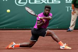 Frances Tiafoe plays against Tomaz Bellucci at the 2017 Fayez Sarofim & Co. U.S. Men's Clay Court Championship at the River Oaks Country Club, Wednesday, April 12, 2017, in Houston.
