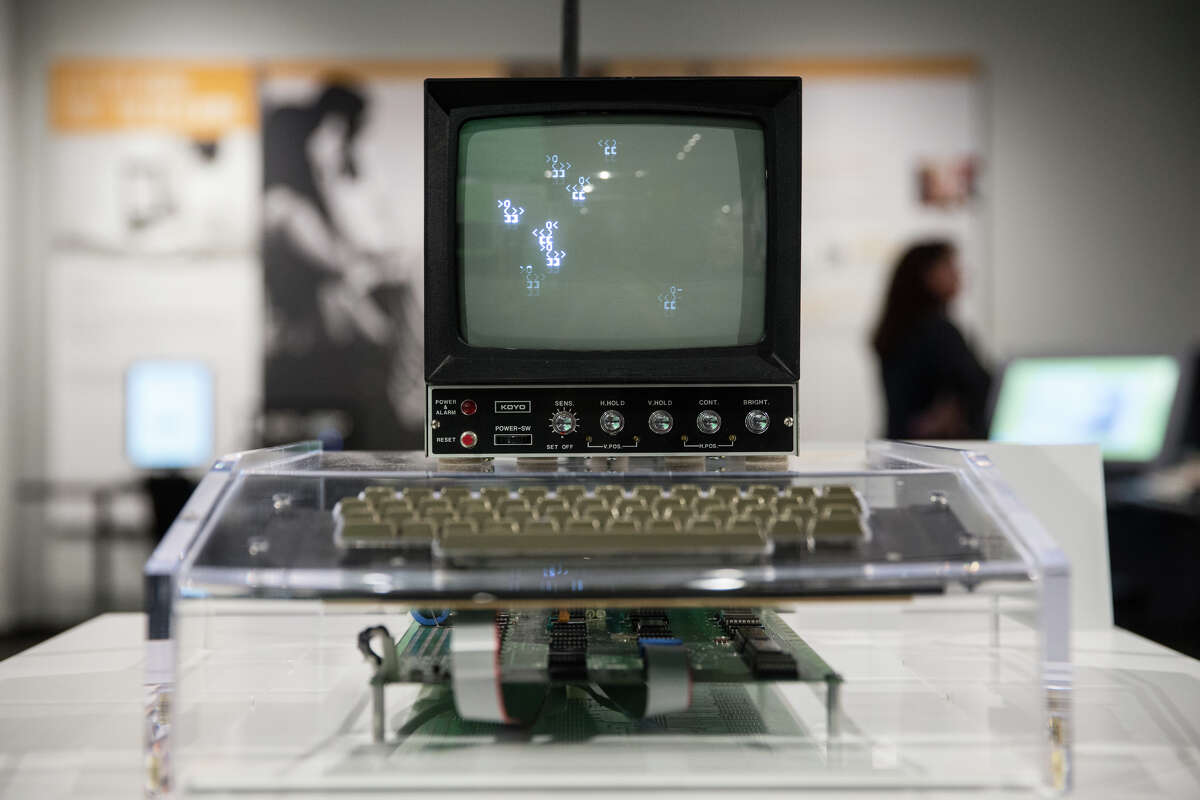 A rare, working Apple I is displayed at the Living Computers museum in Sodo, on Wednesday, April 12, 2017. The computer is displayed in a clear box while the keyboard and a monitor let the public run basic programs.