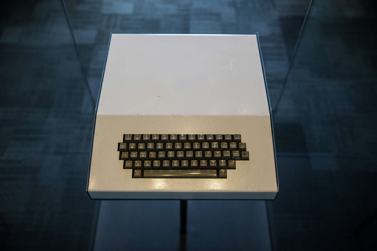 A prototype Apple 1 in a one-of-a-kind shell is displayed at the Living Computers museum in Sodo, on Wednesday, April 12, 2017. This Apple 1 sat in Steve Jobs' office for years and was picked up by an engineer after Jobs' left the company and employees were free to grab his left behind belongings. GRANT HINDSLEY, seattlepi.com)