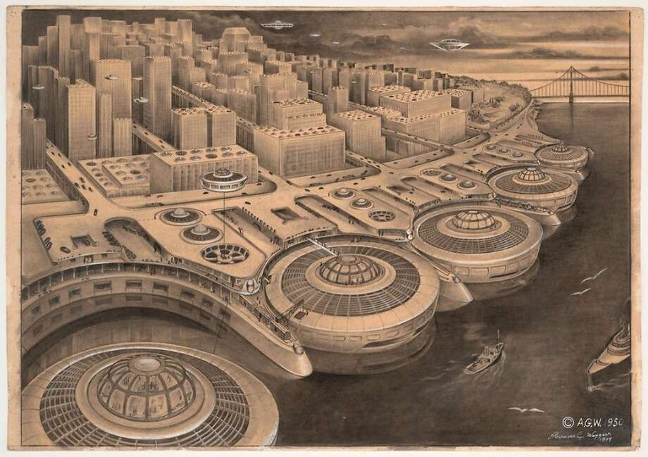 """Alexander Weygers' saucer-y 1950 vision of future San Francisco,includes a giant """"Roomba"""" dock on the Embarcadero. Note, the Golden Gate Bridge is needed for the luddites who still drive cars."""
