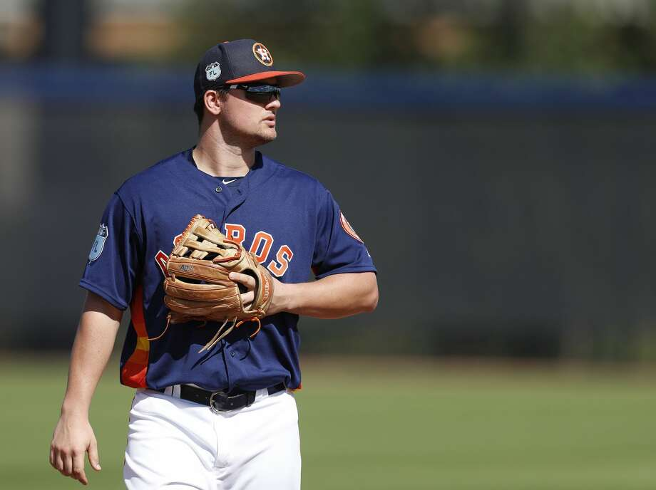 J.D. Davis, a power-hitting third baseman prospect in his second season with Class AA Corpus Christi, made his first pro start in left field on Monday. Photo: Karen Warren/Houston Chronicle