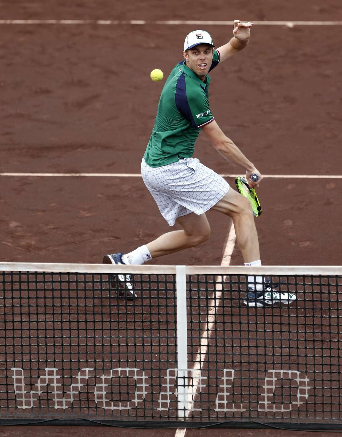Sam Querrey plays doubles with Kevin Anderson against Brian Baker and Nikola Mektic at the 2017 Fayez Sarofim & Co. U.S. Men's Clay Court Championship at the River Oaks Country Club, Wednesday, April 12, 2017, in Houston. ( Karen Warren / Houston Chronicle )