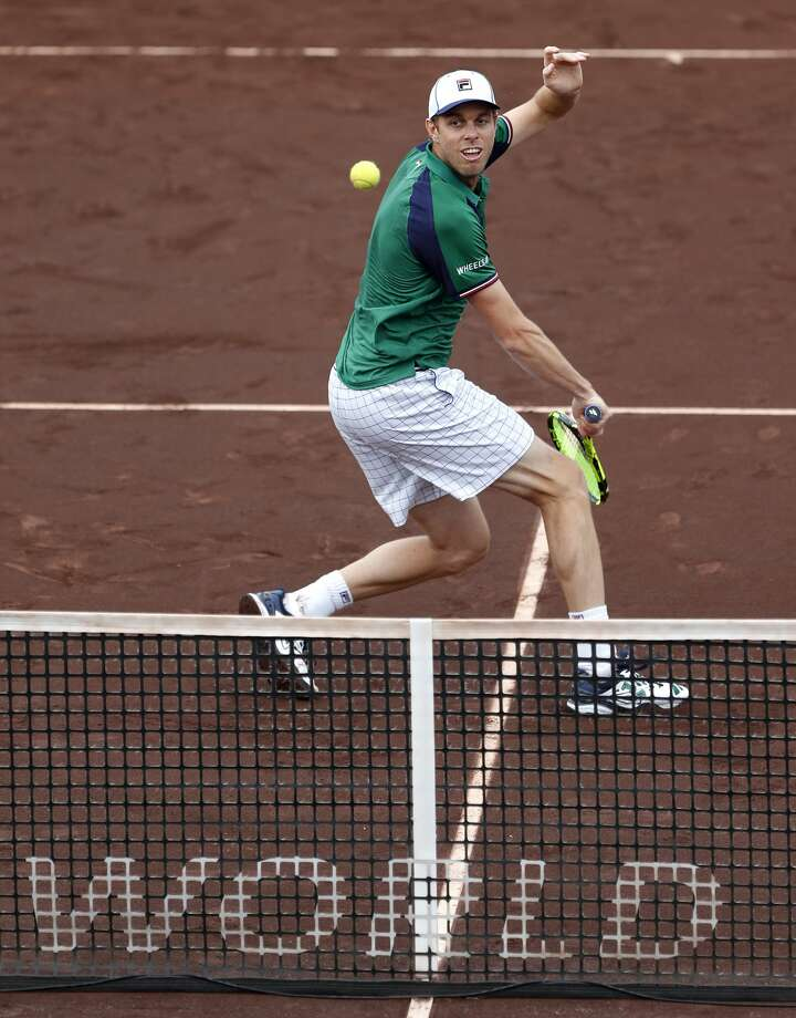 Sam Querrey plays doubles with Kevin Anderson against Brian Baker and Nikola Mektic at the 2017 Fayez Sarofim & Co. U.S. Men's Clay Court Championship at the River Oaks Country Club, Wednesday, April 12, 2017, in Houston. ( Karen Warren / Houston Chronicle ) Photo: Karen Warren/Houston Chronicle