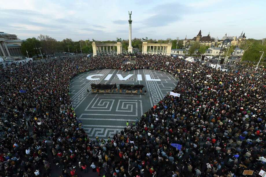 Tens of thousands of people gather to protest government policies on higher education Wednesday in Heroes Square in Budapest, Hungary. Photo: Zoltan Balogh, STF / MTVA - Media Service Support and Asset Management Fund