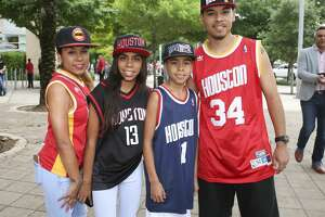 Fans pose for a photo before the Rockets takes on Minnesota Timberwolves Wednesday, April 12, 2017, in Houston. ( Yi-Chin Lee / Houston Chronicle )