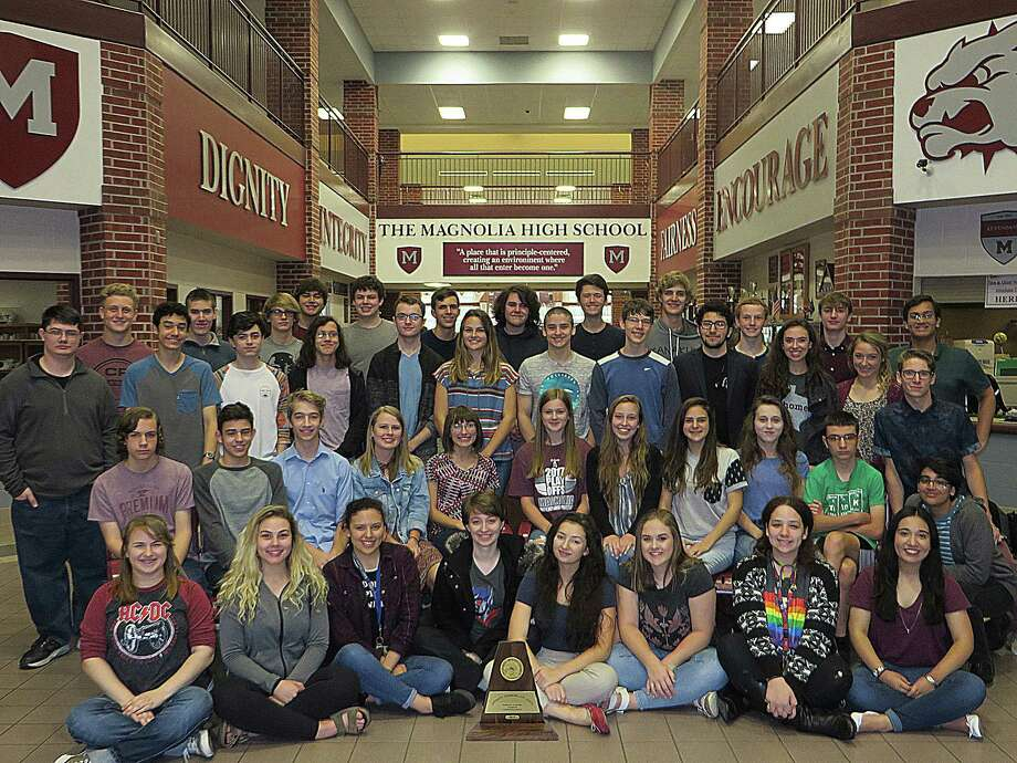 The Magnolia High School UIL Academic team won their first-ever UIL Region 3-5A Academic meet. Of the region competitors, 13 students and the One-Act Play Company will compete for the state title over the next month. Photo: Courtesy Magnolia High School