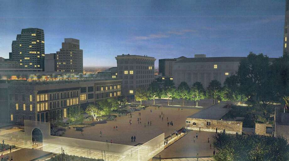 This artist's rendering shows the appearance of Alamo Plaza under a master plan that would include an interpretation of the south wall and historic main gate of the mission and 1836 battle compound, made of structural glass, as it would appear at night. Other features include a 135,000-square-foot museum; historic footings of the historic walls displayed under structural glass; and interpretation of an acequia, or water canal, on the west end of the plaza. Photo: Courtesy, Texas General Land Office