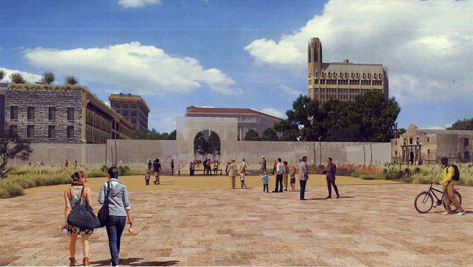 This artist's rendering shows the appearance of Alamo Plaza under a master plan that would include an interpretation of the south wall and historic main gate of the mission and 1836 battle compound, made of structural glass. Photo: Courtesy, Texas General Land Office / Courtesy / Texas General Land Office