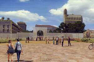 This artist's rendering shows the appearance of Alamo Plaza under a master plan that would include an interpretation of the south wall and historic main gate of the mission and 1836 battle compound, made of structural glass.