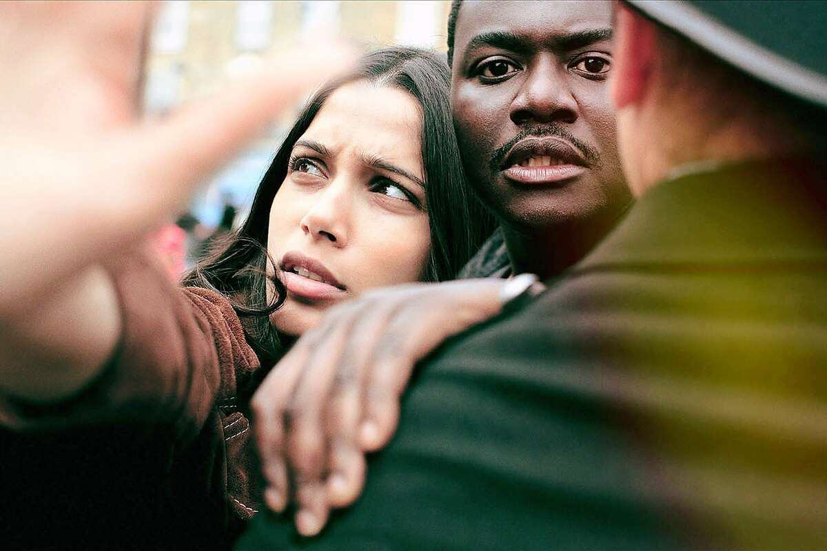 Freida Pinto as Jas Mitra and Babou Ceesay as Marcus in Guerrilla. Photo: Sky UK Limited/SHOWTIME