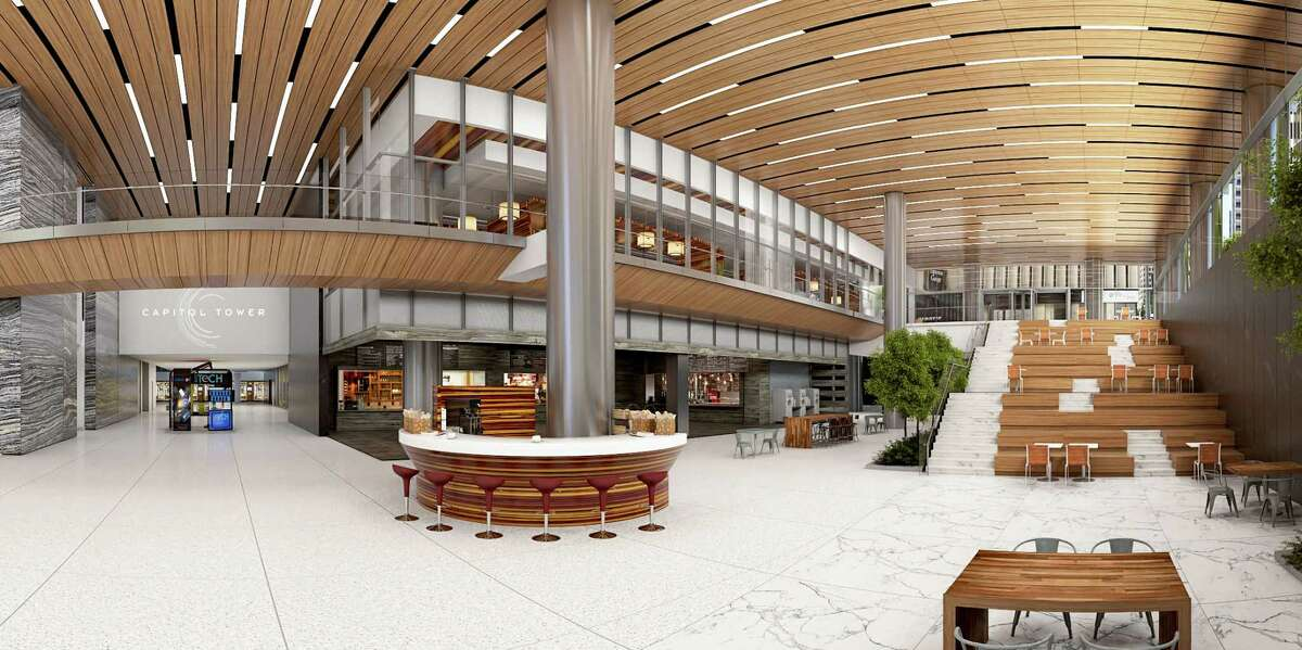 A two-story open-air atrium at Capitol Tower. Bank of America will get its name on Skanska's 35-story downtown building.