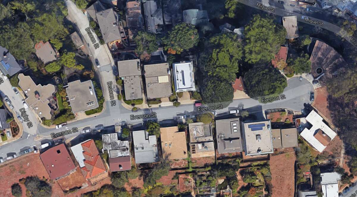 Everson Street in the Glen Park neighborhood of San Francisco is the flashpoint of conflict between David Cowfer and two venture capitalists, one of whom has proposed developing a luxurious basketball court on the cul-de-sac.