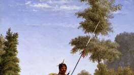 Painting of Comanche Chief by Theodore Gentilz, ca. 1890s