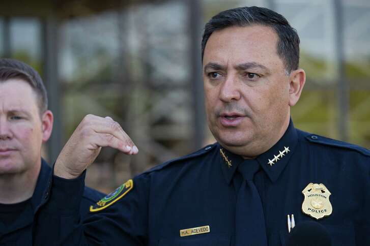 Houston Police chief Art Acevedo talks to media about the sergeant who took his own life inside the Westside Police Station Friday, March 31, 2017 in Houston. ( Godofredo A. Vasquez / Houston Chronicle )