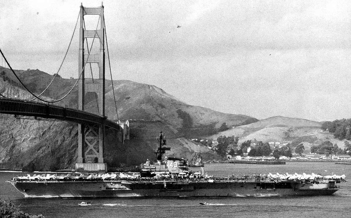 The U.S. Navy aircraft carrier Coral Sea arrives, passing under the Golden Gate Bridge, November 12, 1971 Photo ran 11/13/1971, p. 18