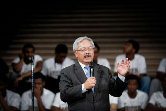 Mayor Ed Lee speaks during a ceremony to honor the Mission High School boys basketball team for becoming the first San Francisco public school to win a state basketball championship at City Hall in San Francisco, California, on Wednesday, April 12, 2017.