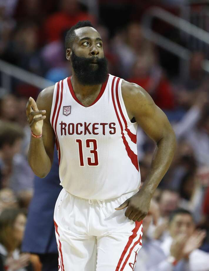 Houston Rockets guard James Harden (13) runs up the court after a three-pointer during the second half of an NBA basketball game at the Toyota Center, Wednesday, April 12, 2017, in Houston. ( Karen Warren / Houston Chronicle ) Photo: Karen Warren/Houston Chronicle