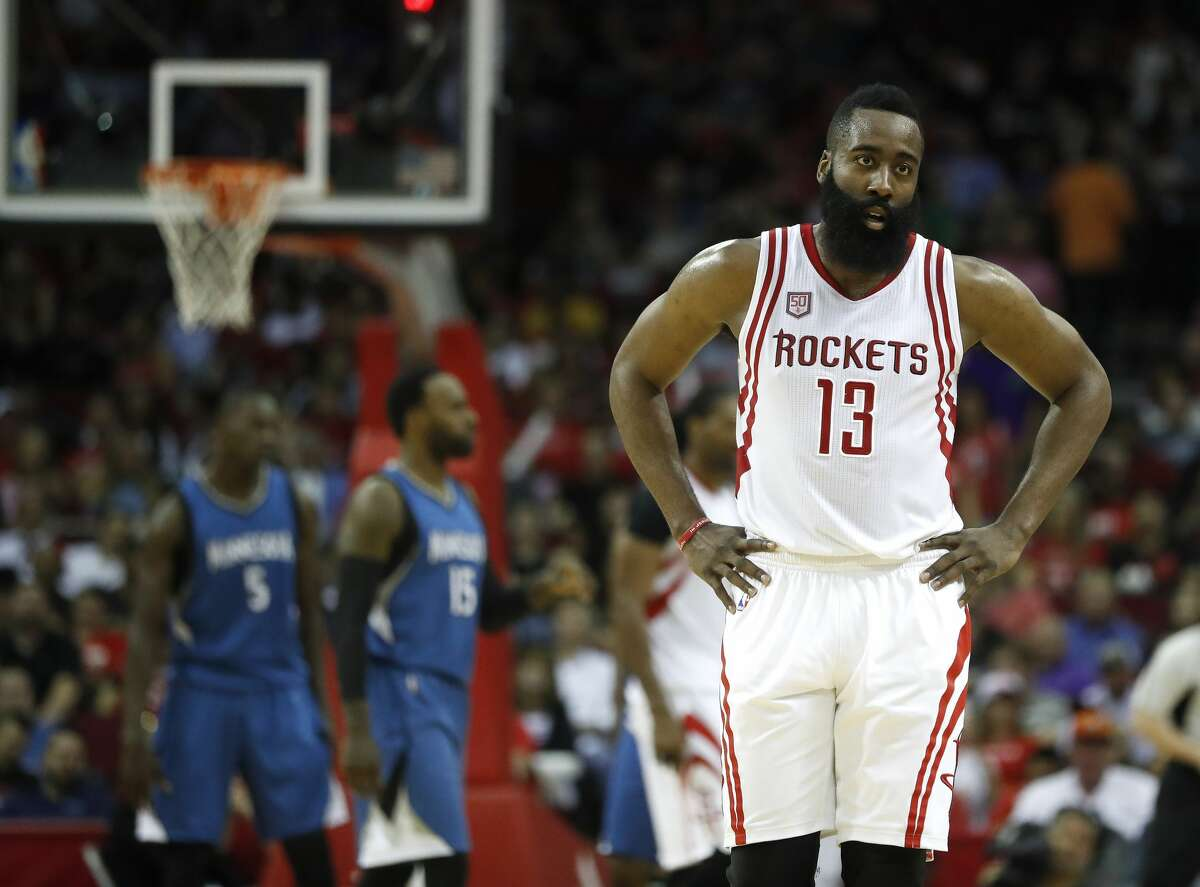 Houston Rockets guard James Harden (13) on the court during the second half of an NBA basketball game at the Toyota Center, Wednesday, April 12, 2017, in Houston. ( Karen Warren / Houston Chronicle )