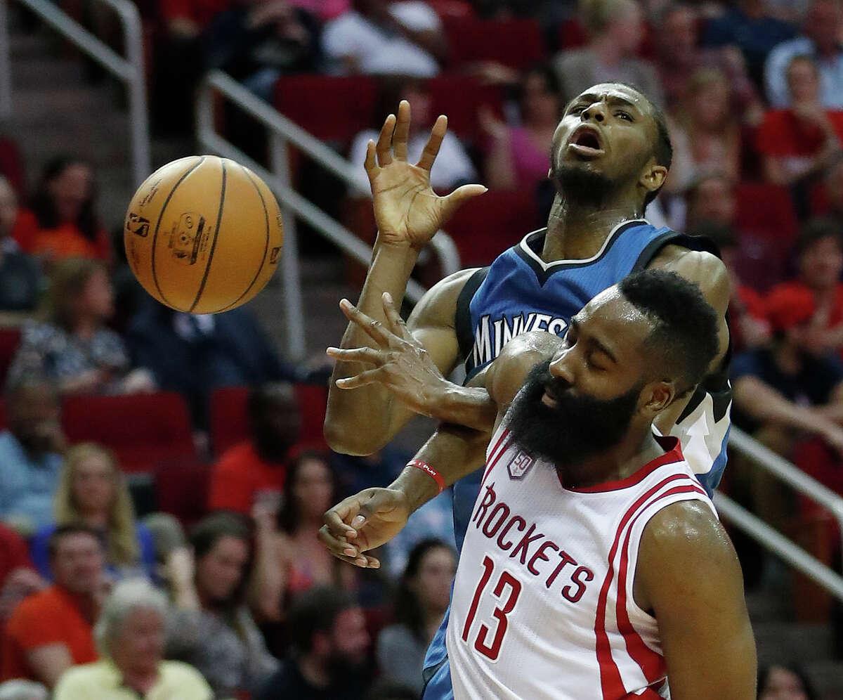 Houston Rockets guard James Harden (13) battles against Minnesota Timberwolves forward Andrew Wiggins (22) during the second half of an NBA basketball game at the Toyota Center, Wednesday, April 12, 2017, in Houston. ( Karen Warren / Houston Chronicle )