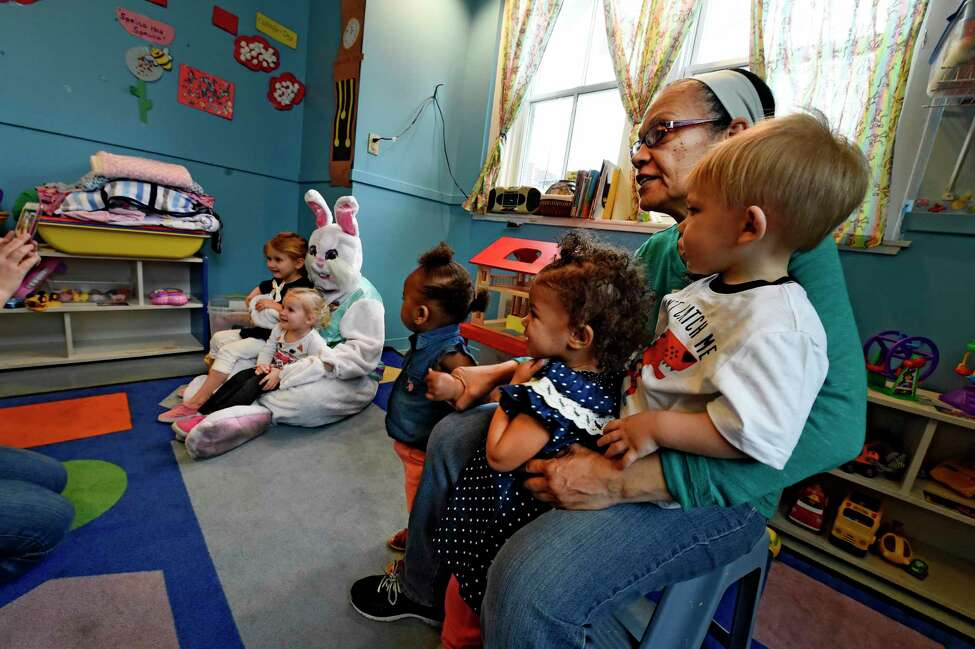 The Spring Bunny makes a visit to the Unity Sunshine III pre-school at the YWCA Wednesday April 12, 2017 in Troy, N.Y. (Skip Dickstein/Times Union)