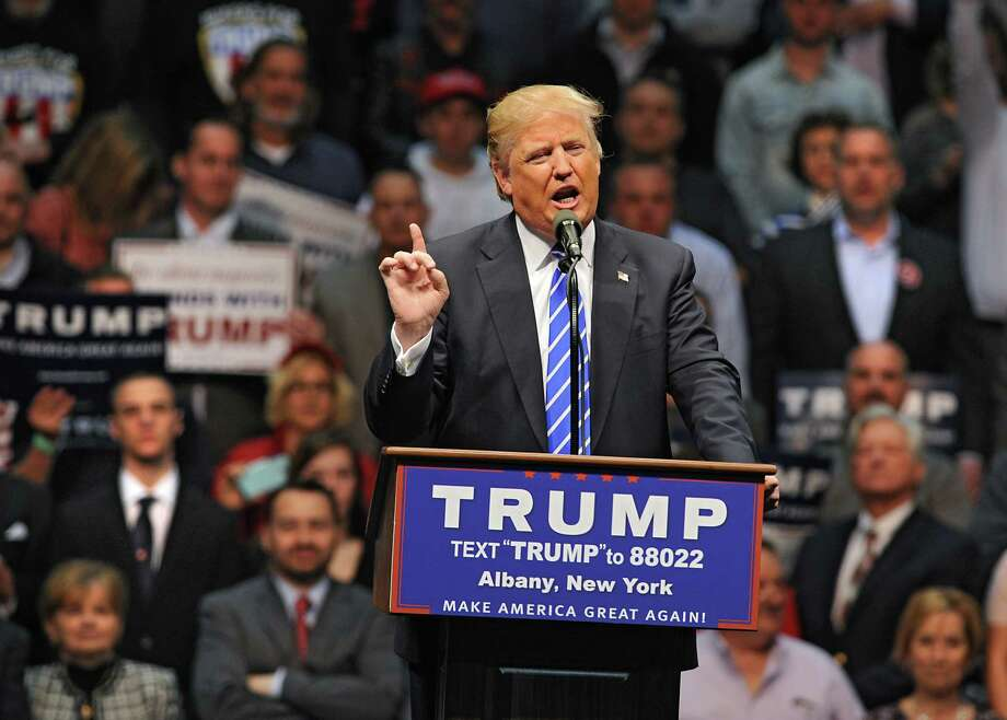 Republican presidential candidate Donald Trump addresses the crowd during a rally at the Times Union Center on Monday, April 11, 2016 in Albany, N.Y. (Lori Van Buren / Times Union) Photo: Lori Van Buren / 10036136A