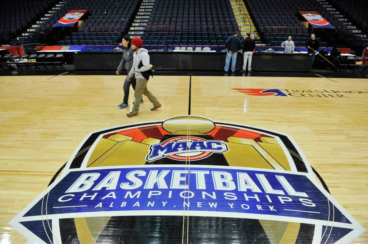 Crews begin to set up for the MAAC Tournament at the Times Union Center on Wednesday, March 2, 2016, in Albany, N.Y. The tournament begins on Thursday. (Paul Buckowski / Times Union)