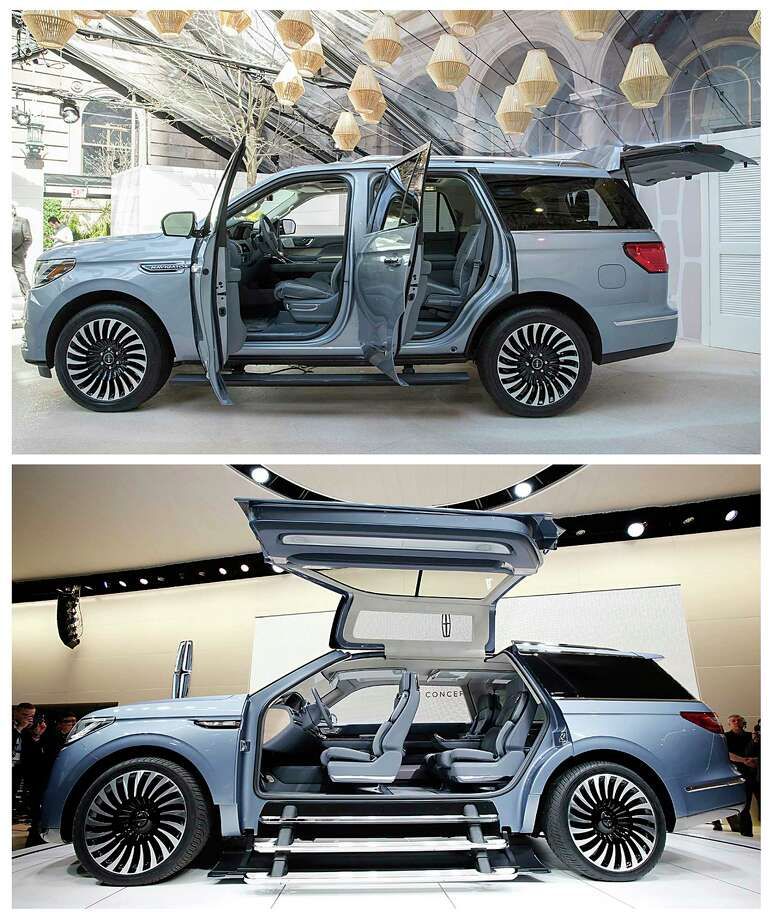 This photo combo shows the Lincoln Navigator Concept, bottom, and the 2018 Lincoln Navigator. The 2018 production version doesn't have the concept's expensive and heavy gull-wing doors or the nautical equipment stored in the back cargo area. (AP Photo) Photo: STF / AP
