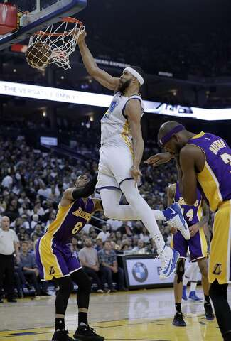 3770dff20df JaVale McGee (1) dunks during the first half as the Golden State Warriors  played