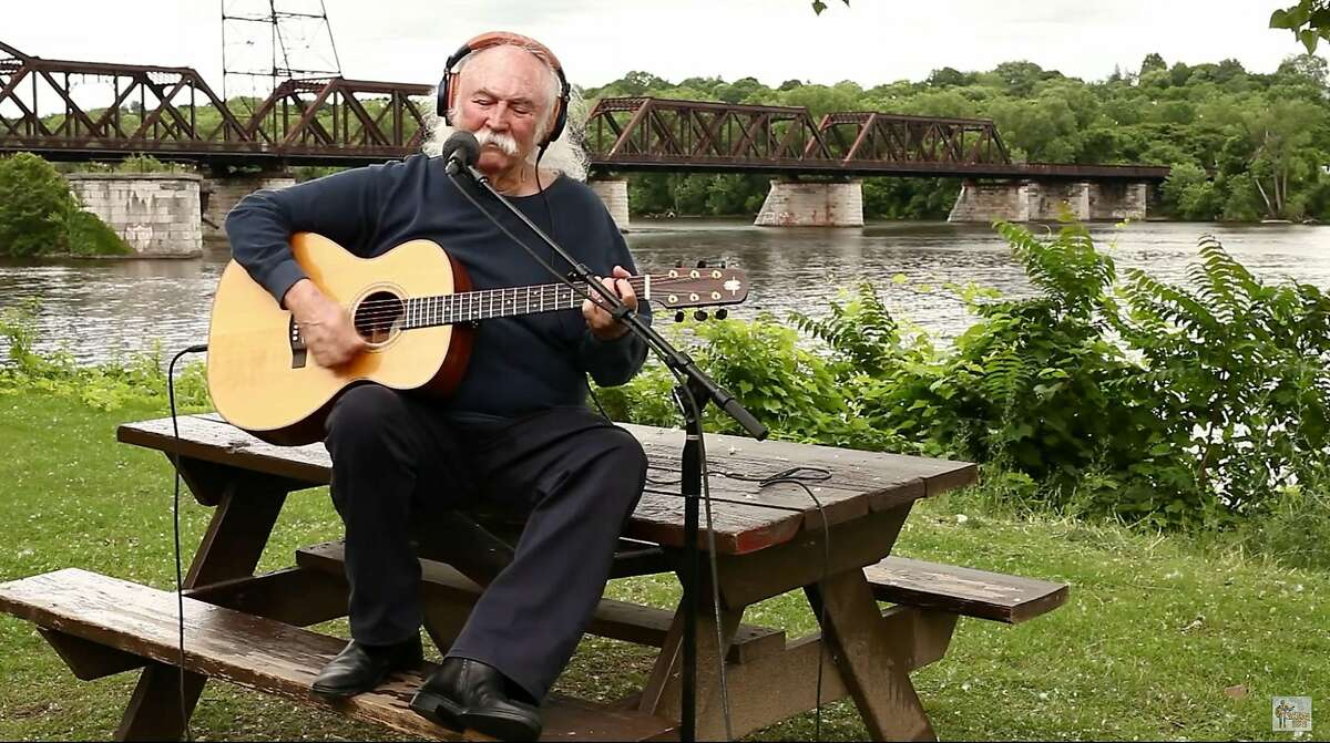 David Crosby performs at Corning Preserve in Albany as he tapes his segment of the Grateful Dead���s ���Ripple��� on the Playing for Change  Song Around the Wold compilation to celebrate the Grateful Dead���s 50th anniversary. The video is posted on Youtube. (Playing for Change)