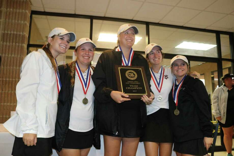It's all smiles for the Deer Park I girls golf team after they won the 22-6A title Wednesday with a 375. Photo: Robert Avery